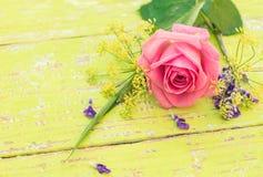 Romantyczny kartka z pozdrowieniami z wiązką menchii róży kwiat i kopii przestrzeń Zdjęcia Royalty Free