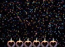 Romantyczny kolorowy Bożenarodzeniowy tło z świeczkami obraz royalty free