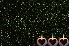 Romantyczny kolorowy Bożenarodzeniowy tło z świeczkami obrazy stock
