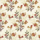 Romantyczny kwiecisty tło z kwiatami i ptakami. Obrazy Royalty Free