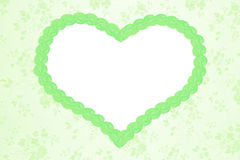 Romantyczny kwiecisty tło z zielonym sercem Zdjęcie Royalty Free