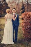 Romantyczny ślub pary odprowadzenie w parku Obrazy Stock