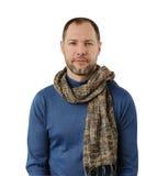 Romantyczny mężczyzna w szaliku odizolowywającym na bielu Obrazy Stock