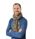Romantyczny mężczyzna w szaliku odizolowywającym na bielu zdjęcia royalty free