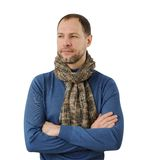 Romantyczny mężczyzna w szaliku odizolowywającym na bielu obraz royalty free