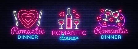 Romantyczny Obiadowy Neonowy logo kolekci wektor Wino neonowy znak, projekta szablon, nowożytny trendu projekt, nocy neonowy sign Ilustracja Wektor
