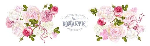 Romantyczny ogrodowy horyzontalny ilustracja wektor