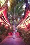 Romantyczny park, domy z wyginającymi się dachami i drzewka palmowe, dekorowaliśmy z girlandą zwrotniki Asja Zdjęcie Royalty Free