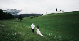 Romantyczny pary odprowadzenie wokoło zielonego pola trzyma ręki i patrzeje zadziwiających widoki las i góry zdjęcie wideo