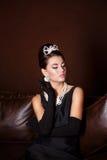Romantyczny piękno styl retro retro portret kobieta Zdjęcie Royalty Free