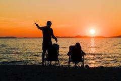 Romantyczny pinkin morzem zdjęcia royalty free