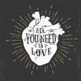 Romantyczny plakat z ludzkim serca i inspirować literowaniem Obrazy Royalty Free
