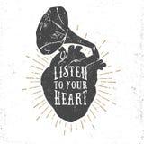 Romantyczny plakat z ludzkim sercem i gramofonowym rogiem Fotografia Royalty Free