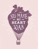 Romantyczny plakat z ludzkim sercem jako gorące powietrze balon Zdjęcie Royalty Free