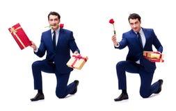 Romantyczny pojęcie z mężczyzna robi małżeństwo propozyci Zdjęcia Royalty Free