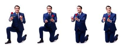 Romantyczny pojęcie z mężczyzna robi małżeństwo propozyci Obraz Stock