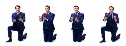 Romantyczny pojęcie z mężczyzna robi małżeństwo propozyci Zdjęcia Stock