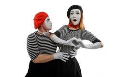 Romantyczny portret dwa mima zdjęcia stock