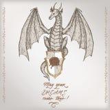 Romantyczny rocznik urodzinowej karty szablon z kaligrafią i smok kreślimy Zdjęcie Royalty Free