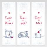 Romantyczny set trzy doodle vertical sztandaru Fotografia Royalty Free