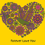Romantyczny tło z kwiatami i ptakami serce odizolowane kształtu white pomidorowego Obrazy Stock
