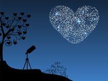 Romantyczny tło teleskop, serce i Obraz Royalty Free
