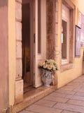 Romantyczny uliczny miejsce w Rovinj, Chorwacja Obrazy Stock
