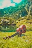 Romantyczny widok ukulele gitara przy halną natury zielenią Obraz Royalty Free