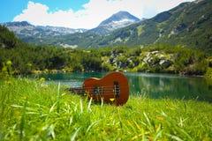 Romantyczny widok ukulele gitara przy halną natury zielenią Zdjęcie Stock