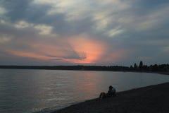 Romantyczny wieczór morzem Zdjęcia Royalty Free