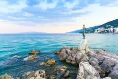 Romantyczny wieczór w Opatija, Istria, Kvarner, Chorwacja Obrazy Stock