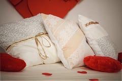 romantyczny wnętrze, poduszki Zdjęcia Royalty Free