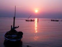 Romantyczny wschód słońca przy Kenjeran plażą fotografia stock