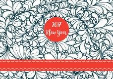 Romantyczny wzorzysty plakat dla 2017 nowy rok wakacje Zdjęcia Royalty Free