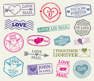 Romantyczny znaczka pocztowego wektorowy ustawiający dla valentines dnia karty, listy miłośni ilustracji