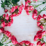 Romantycznych kwiecistych róż rocznika ramowy tło Zdjęcia Royalty Free