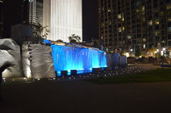 Romare Bearden Park in Charlotte. Scenic view of Romare Bearden Park illuminated at night in Charlotte, North Carolina, USA Stock Photography