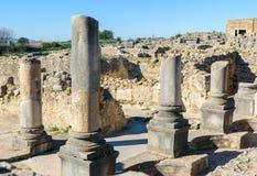 Romaren fördärvar, den forntida romerska staden av Volubilis morocco Royaltyfri Foto