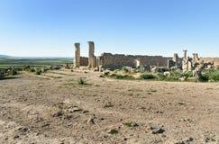 Romaren fördärvar, den forntida romerska staden av Volubilis morocco Arkivfoton