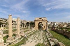 Romaren fördärvar i den jordanska staden av Jerash, Jordanien Arkivfoton