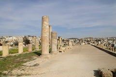 Romaren fördärvar i den jordanska staden av Jerash, Jordanien Arkivbild