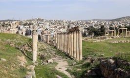 Romaren fördärvar i den jordanska staden av Jerash, Jordanien Royaltyfria Bilder