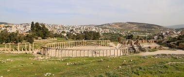 Romaren fördärvar i den jordanska staden av Jerash, Jordanien Fotografering för Bildbyråer