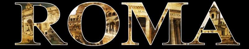 Romaresikter på det Roma ordet royaltyfri illustrationer