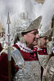 Romaresoldater som kallas Armaos, av brödraskap för El Nazareno, långfredag Royaltyfria Bilder