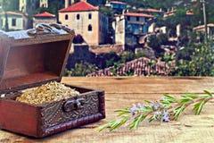 Romarin frais et sec sur la table en bois rustique Image stock