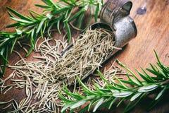 Romarin frais et sec sur une table en bois Photographie stock