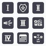 Romańskiego liczebnika ikony Liczba jeden, dwa, trzy Zdjęcie Stock