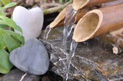 Romatic一点竹喷泉 免版税图库摄影