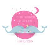 Romatic与鲸鱼的贺卡 关于友谊的卡片 背景美好的大深色的女孩重点藏品我查出爱红色空白年轻人 免版税库存图片